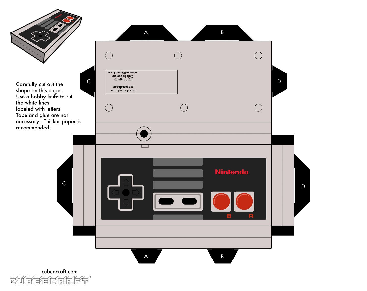 Paper Nes Controller With Images Papercraft Templates Paper