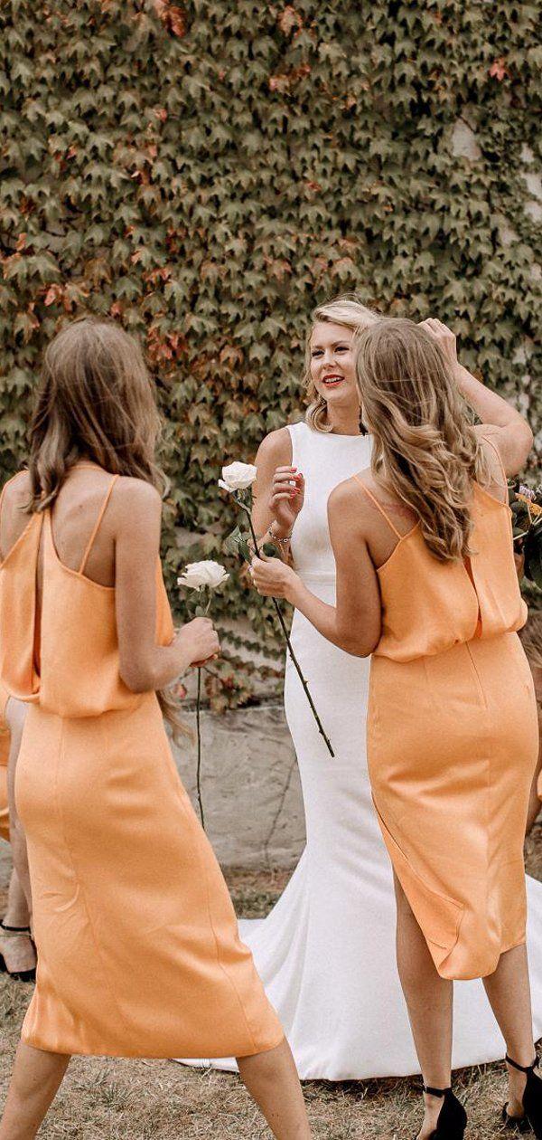 Oranje spaghettibandjes v-hals knielengte zomer bruiloft bruidsmeisjekleding, PB1 …
