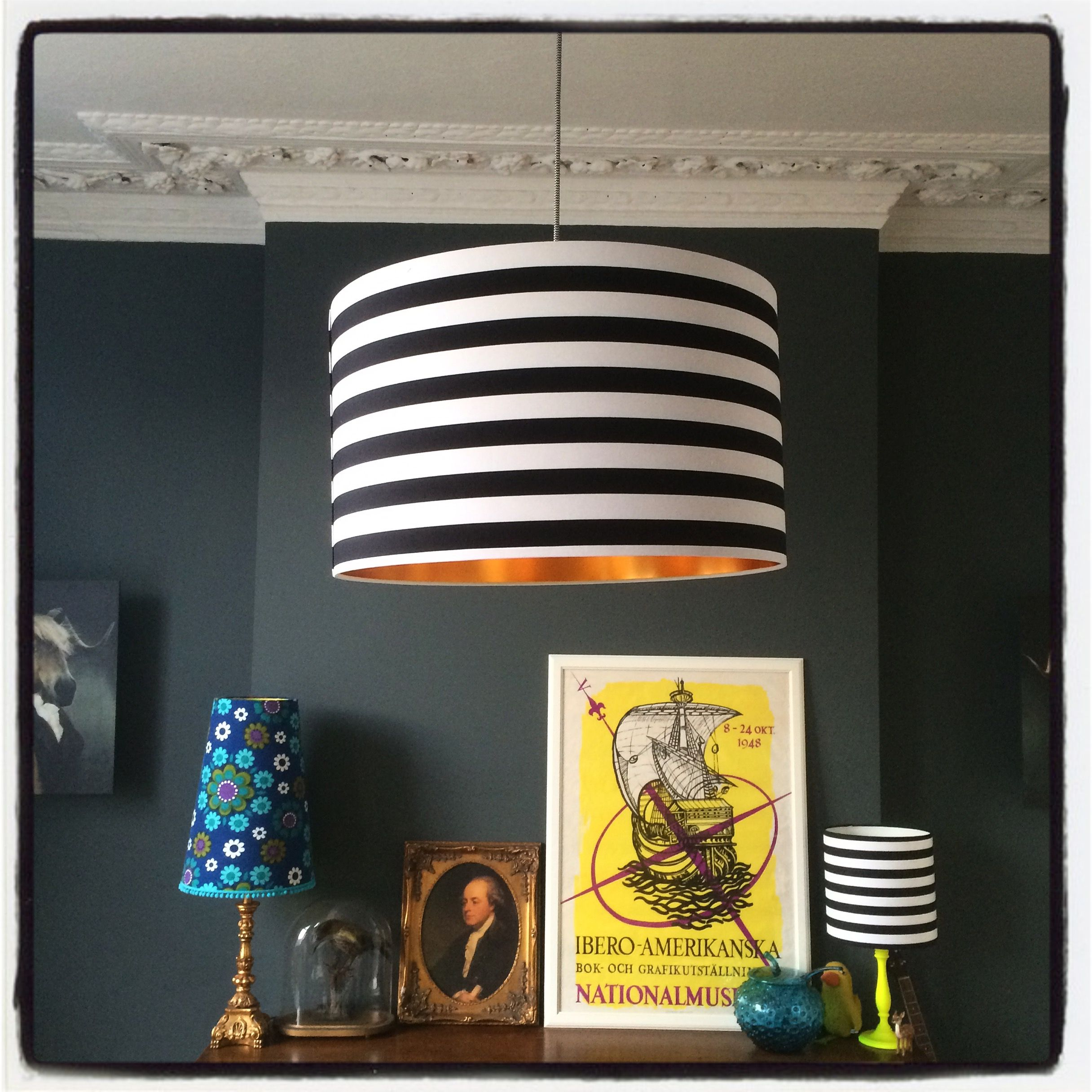 Circus Stripes Monochrome Lampshade With Gold Lining Lampshades Fabric Lampshade Pendant Light Fitting