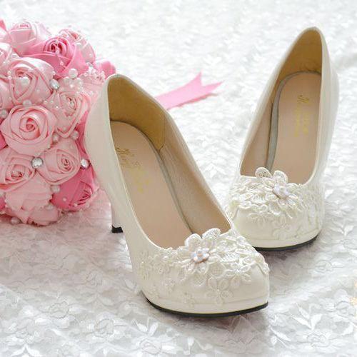 b9b9c3f7833d Womens Handmade Pearl White Lace Flowers Bride Wedding Shoe Flat Heels Pumps
