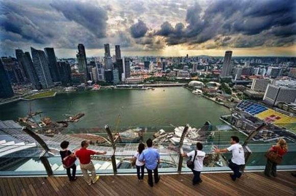 Image result for images of view from observation deck of marina bay sands hotel