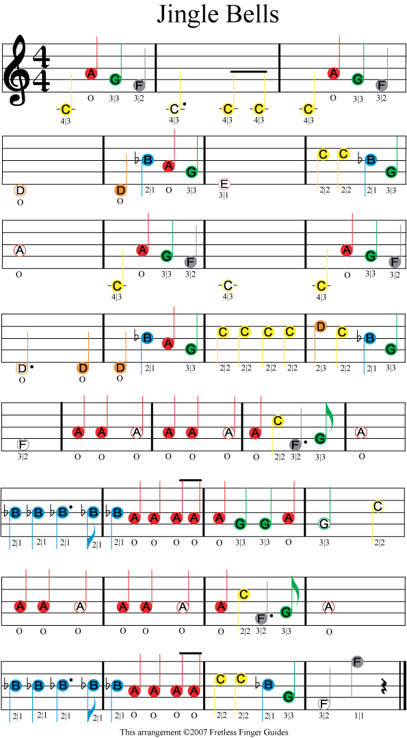 jingle bells easy color coded violin sheet music | Violin ...