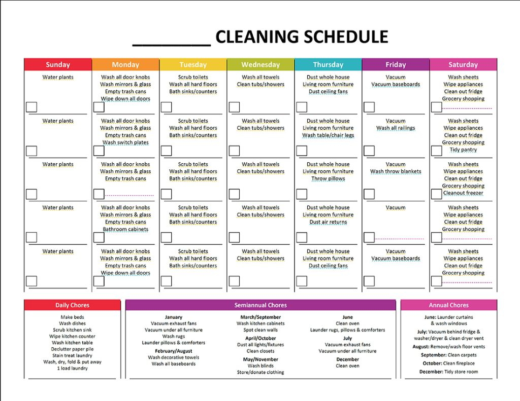 Monthly-Cleaning-Schedule---Blank | Organizing | Pinterest