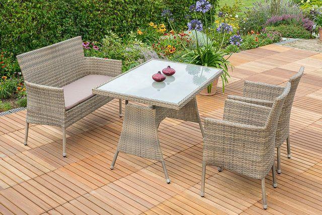 Gartenmobelset Trentino 7tlg 2 Sessel Bank Tisch Stapelbar