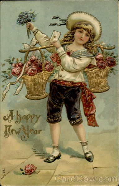 postcard.quenalbertini: Vintage New Year Card