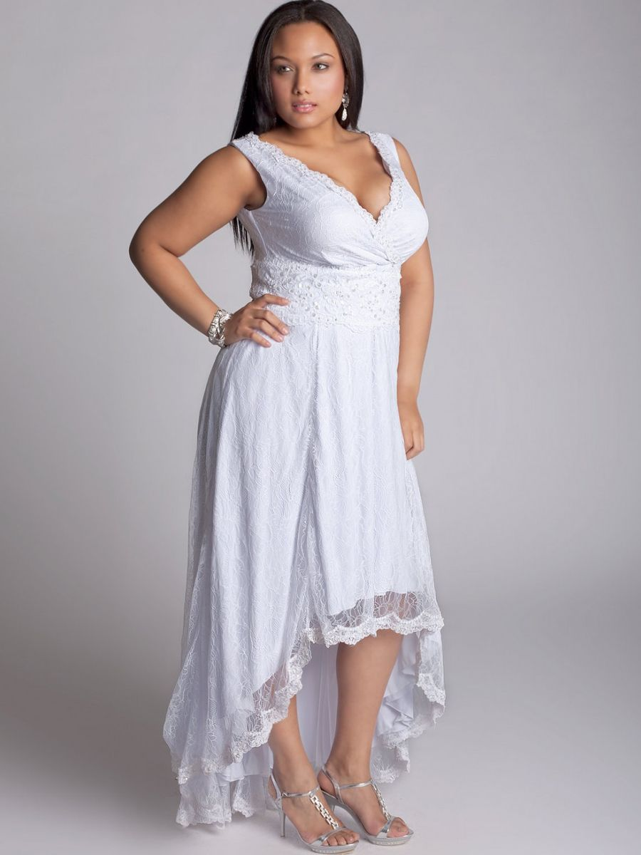 Plus Size Wedding Dresses Ball Gown | White lace, High low and ...