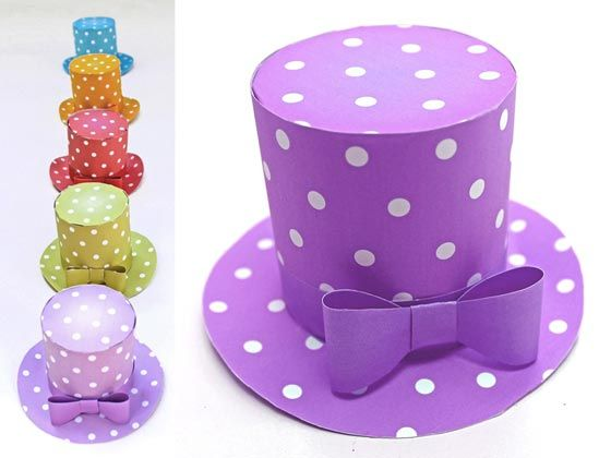 Polka dot mini top hat 5 DIY printable templates to download - Party Hat Template