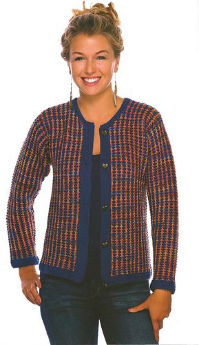 """Slip-Stitch Tweed Jacket"" Designed by Doreen L. Marquart. Knit with ""Gems"" from Louet & ""Sport Weight"" from Claudia Hand Painted Yarns."
