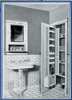 """1920's bath storage. """"here is a bathroom cabinet that is only a"""