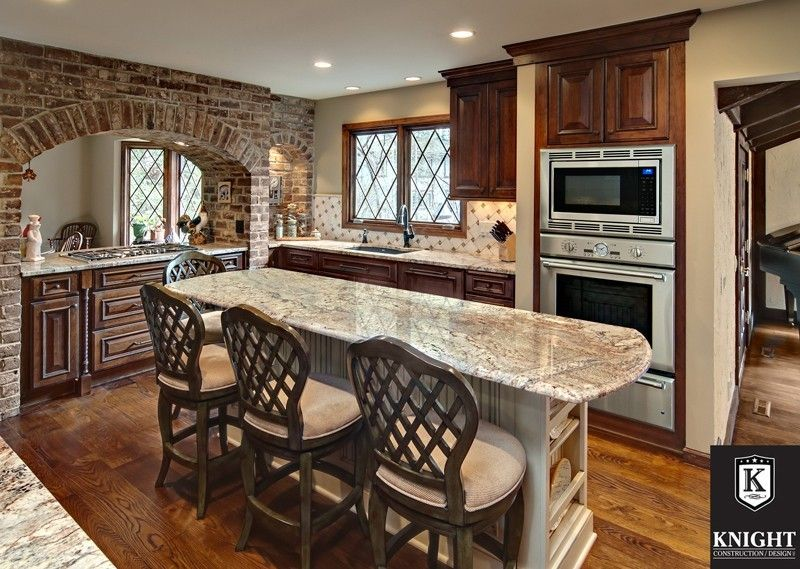 Granite Countertops By Granite Tops Stone Countertop Outlet Home Built By Knight Construction Classic Kitchen Design Classic Kitchen Cabinets Brick Kitchen