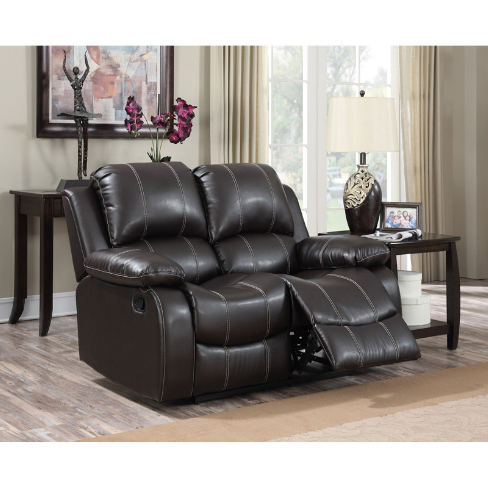 Miraculous Gordon Motion Faux Leather 2 Seat Double Recliner Loveseat Machost Co Dining Chair Design Ideas Machostcouk