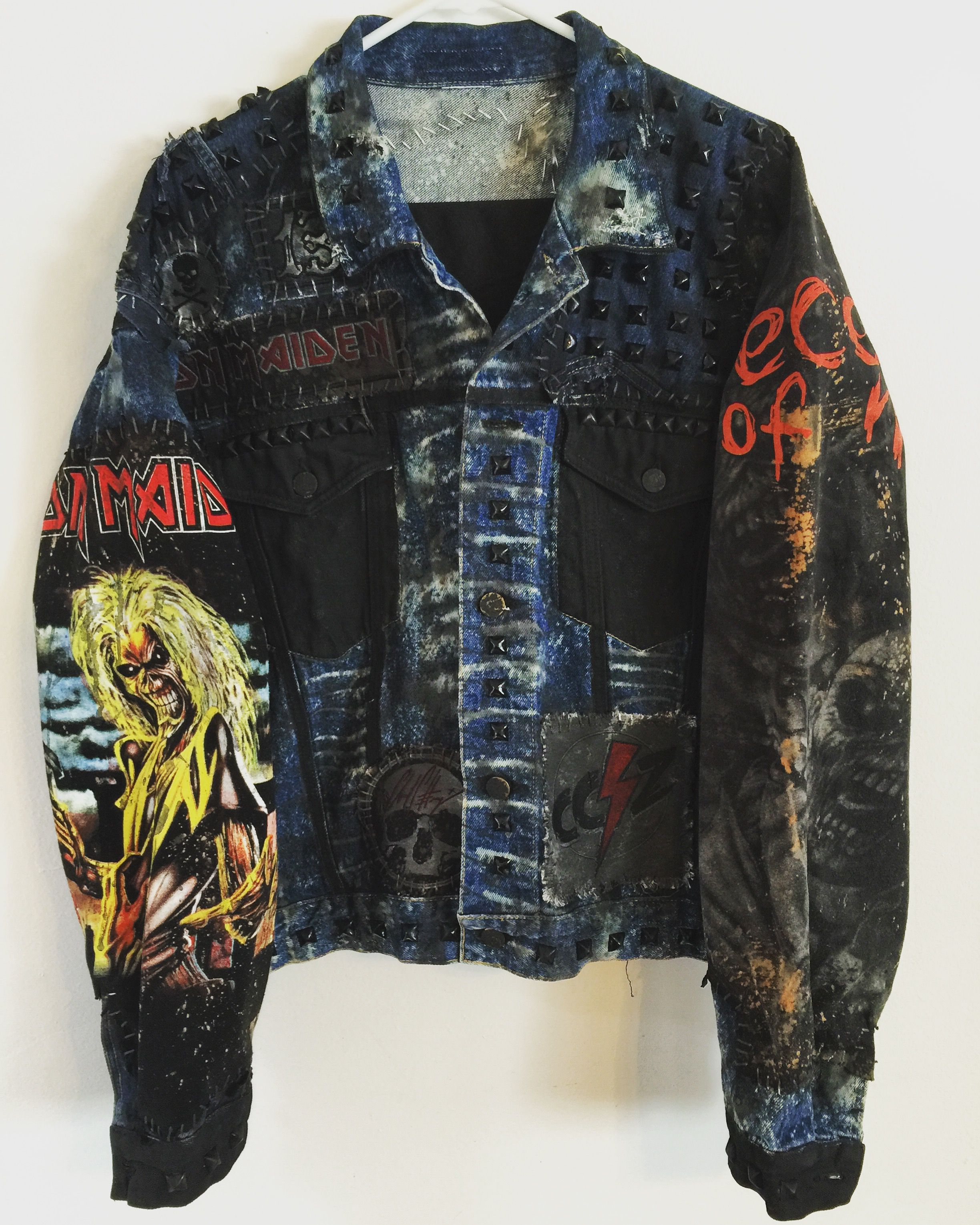 dbdc662b836e Iron Maiden denim jacket from ChadCherryClothing. Distressed denim jacket.  Heavy Metal denim jacket.