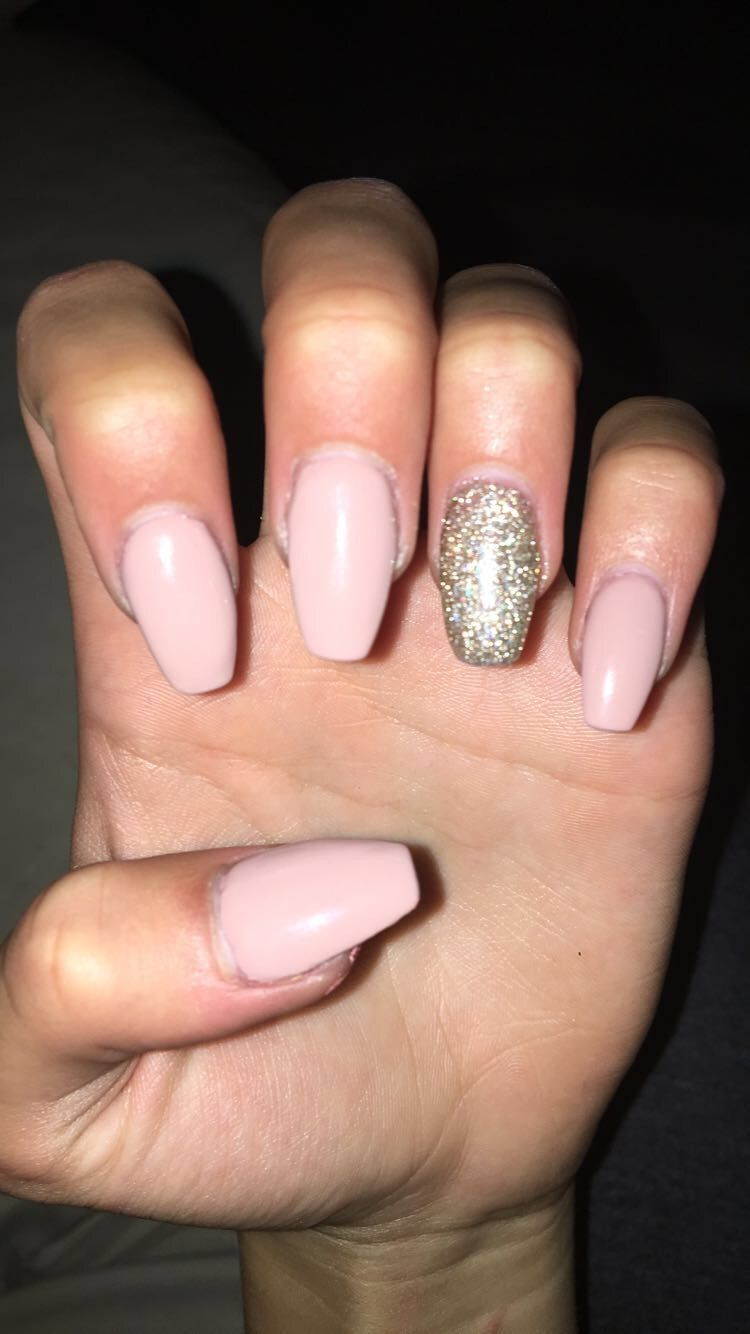 acrylic nails medium length round coffin   nails in 2018 ...