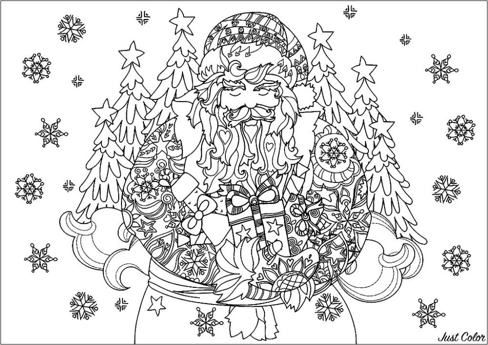 Cute christmas Santa Claus drawing, with snowflakes around