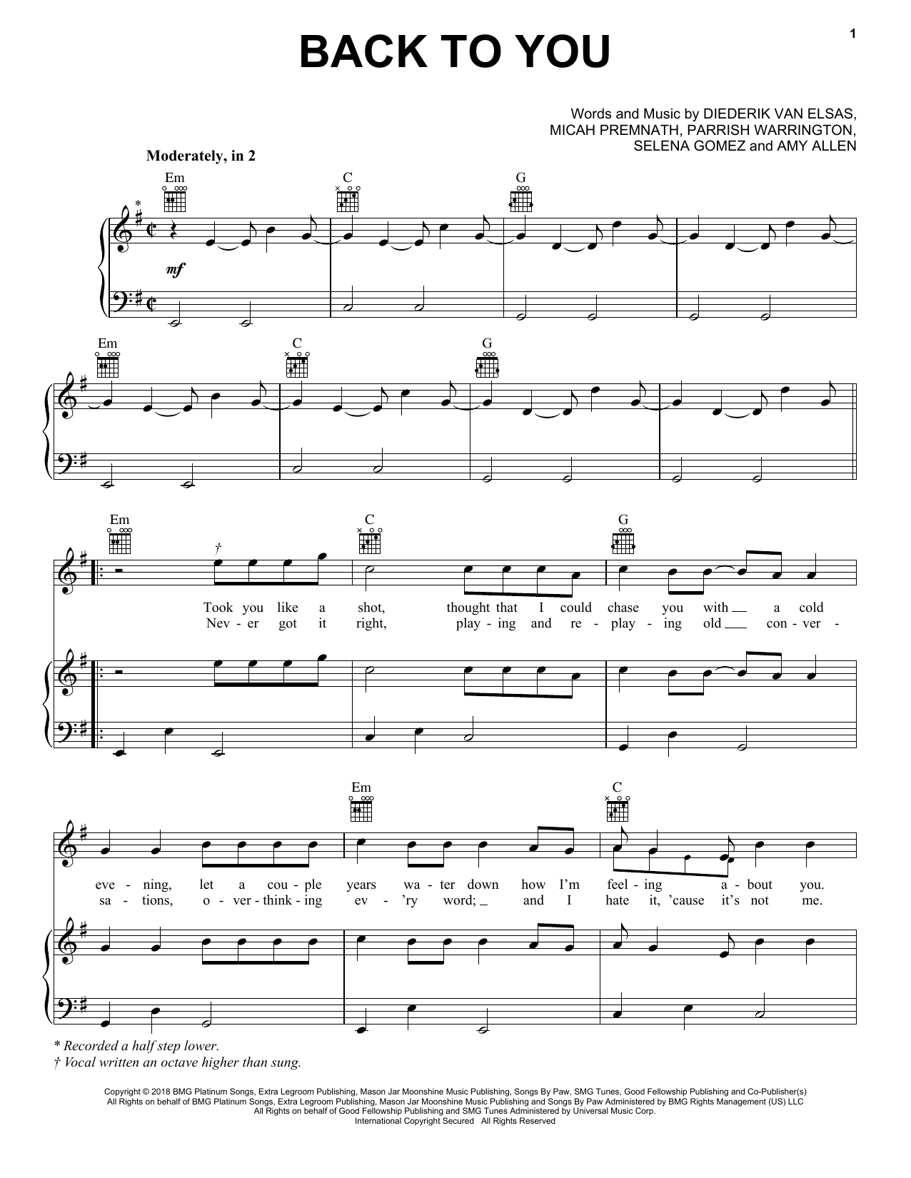 Selena Gomez Back To You From 13 Reasons Why Sheet Music Notes Amp Chords In