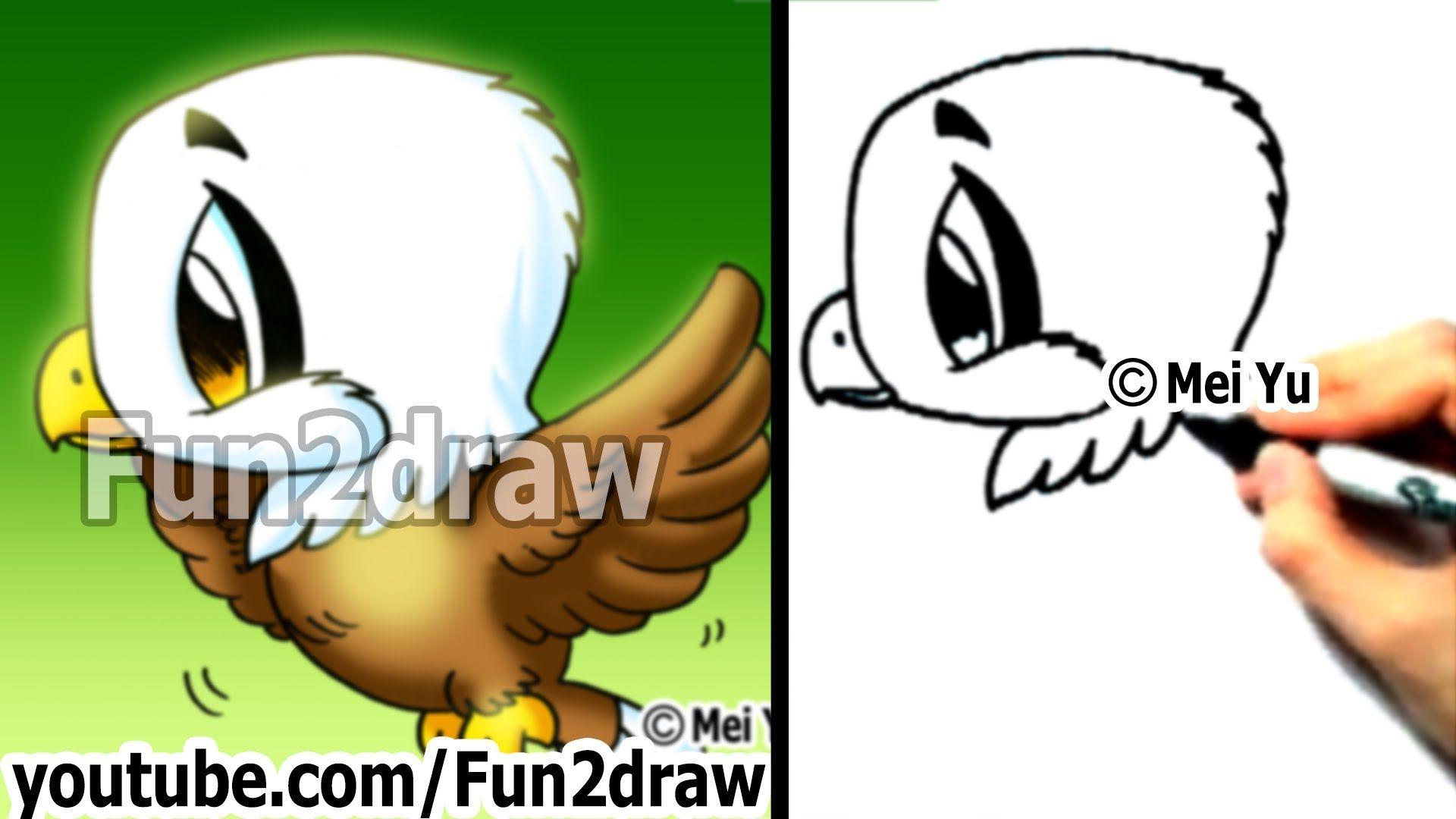 How To Draw A Cute Chibi Eagle In 2 Min Playlist Dessin Aigle
