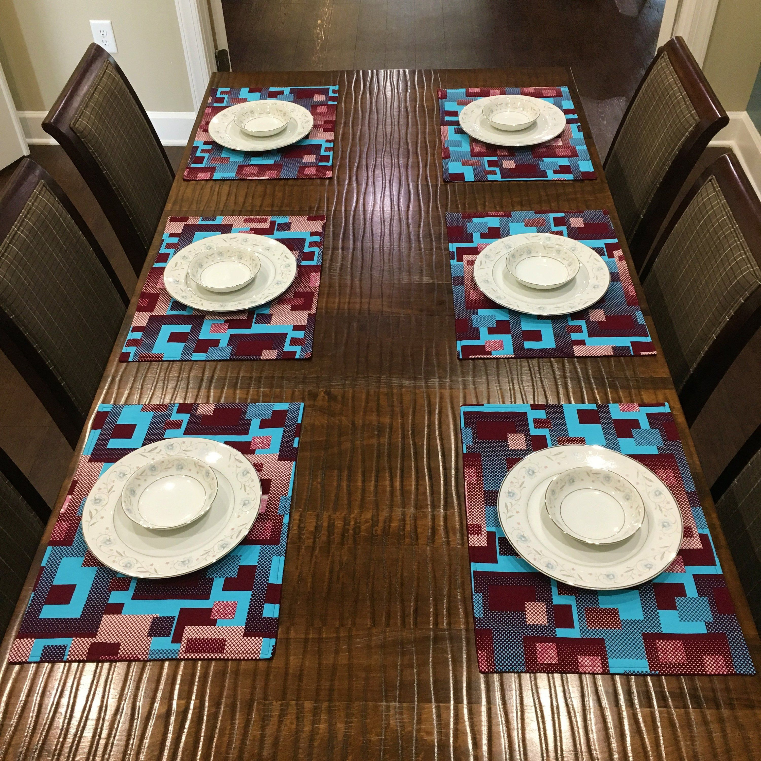 Ankara Placemats African Print Placemats Geometric Print Placemats Blue Squares Reversible Placemats Table Line African Home Decor African Decor Art Table