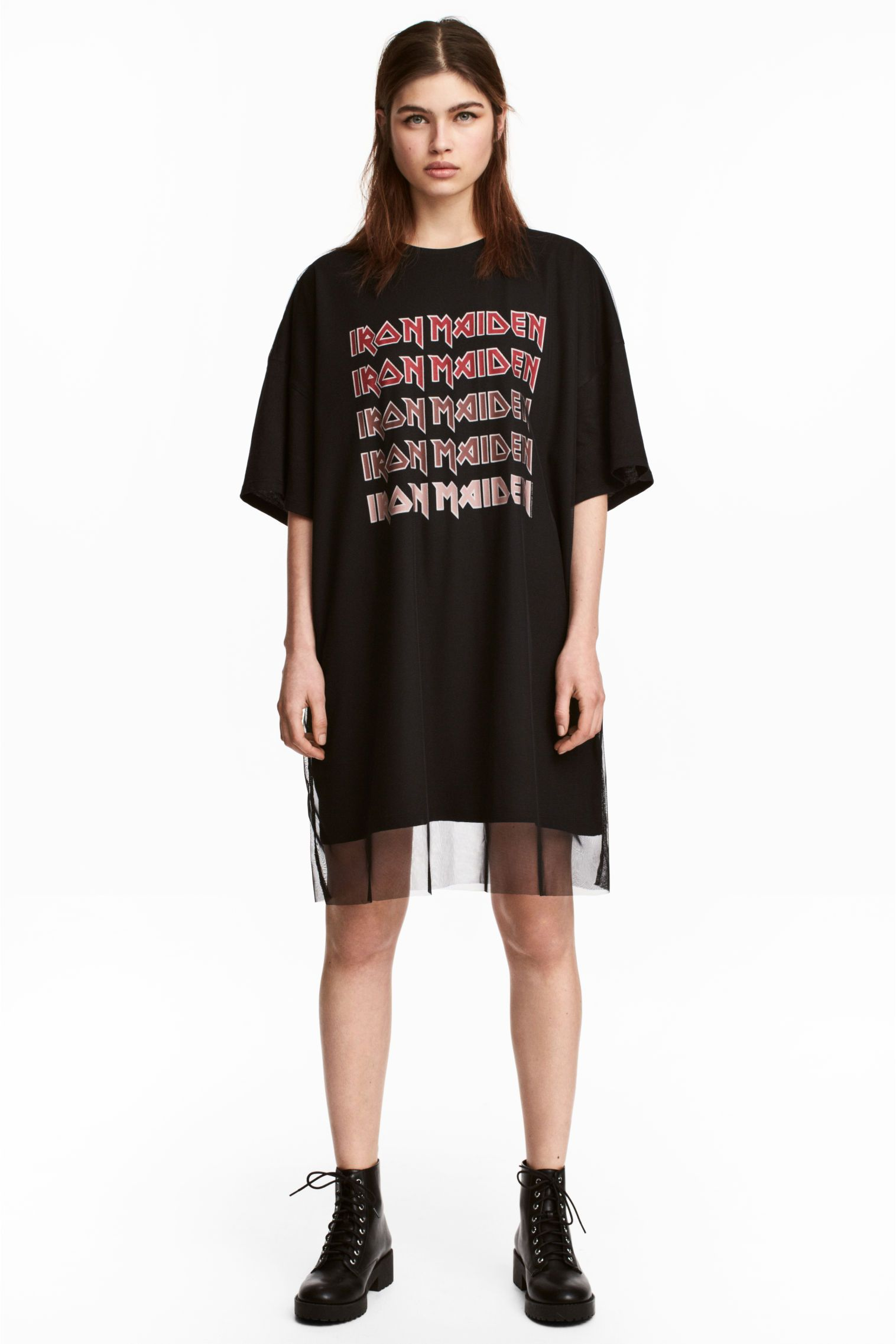 b4fab59e329 Short T-shirt dress in cotton jersey with a print motif on the front.  Overlayered with mesh front and back.