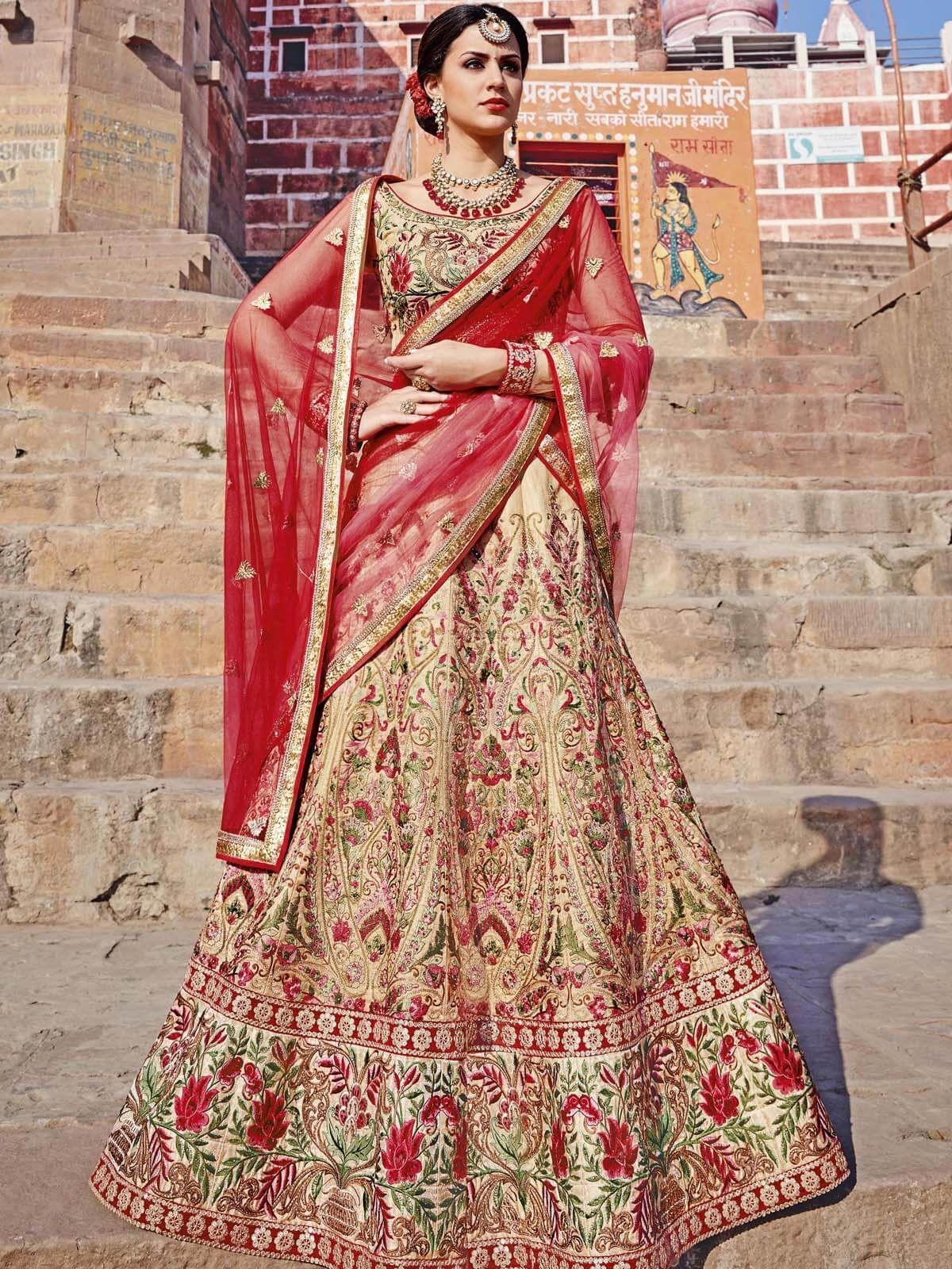 Refined golden and red festival wear art silk designer lehenga