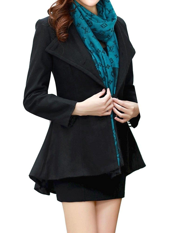 94c1cf637c4 Women s Casual Plus Size Asymmetrical Hem Blazer Jacekt Coat Black ...