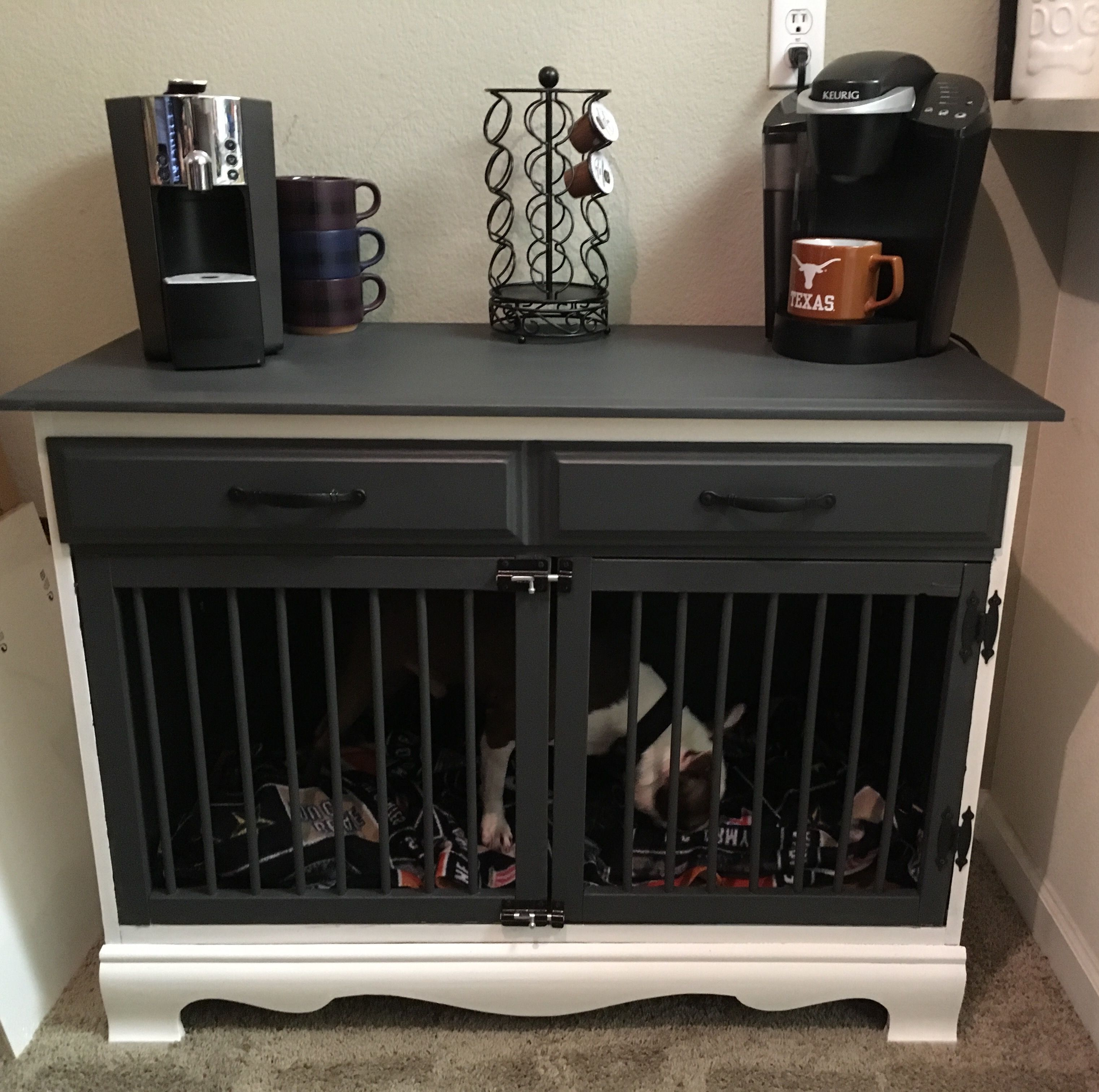 Turned A 20 Dresser Into A Gorgeous Dog Kennel Coffee Station