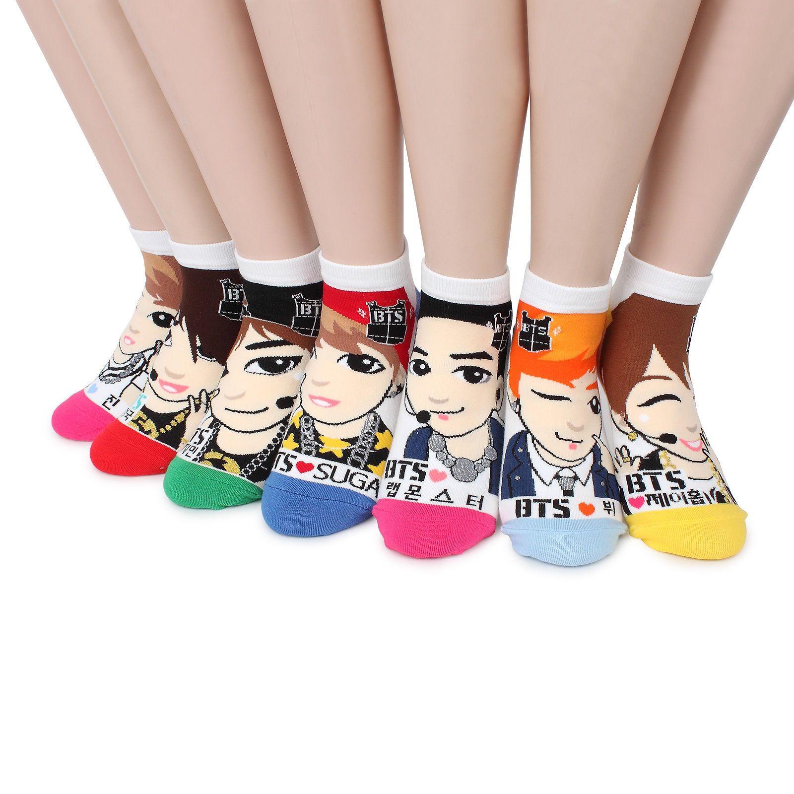 7 Pairs BTS Bangtan boy BT21 Photo Poster Fashion Socks Women Kids Army NB