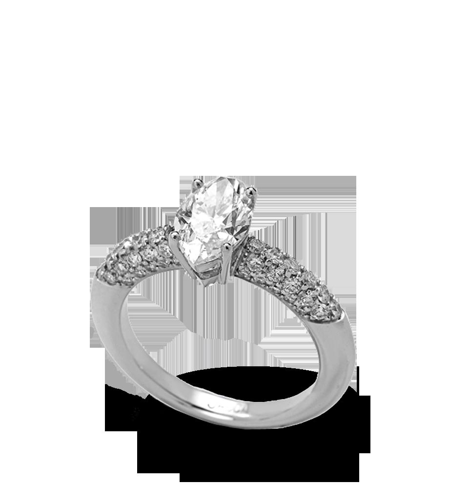 Solitario en platino con brillante central talla marquise D river vs2 de 1,46 cts y brillantes talla pave