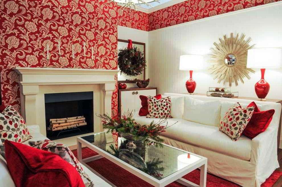 Wallpaper Dinding Ruang Tamu Minimalis Merah Decor Home
