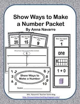 This Show Ways to Make a Number packet is a resource for providing students a way to help develop number sense.