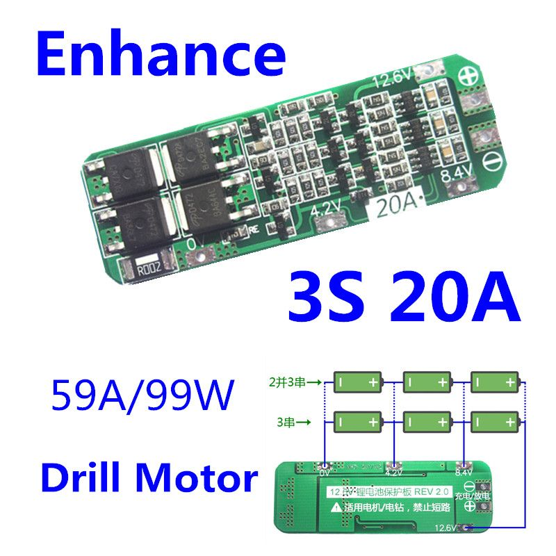 3S 12.6V 40A Li-ion Lithium 18650 Battery Charger Protection Board PCB Enhanced