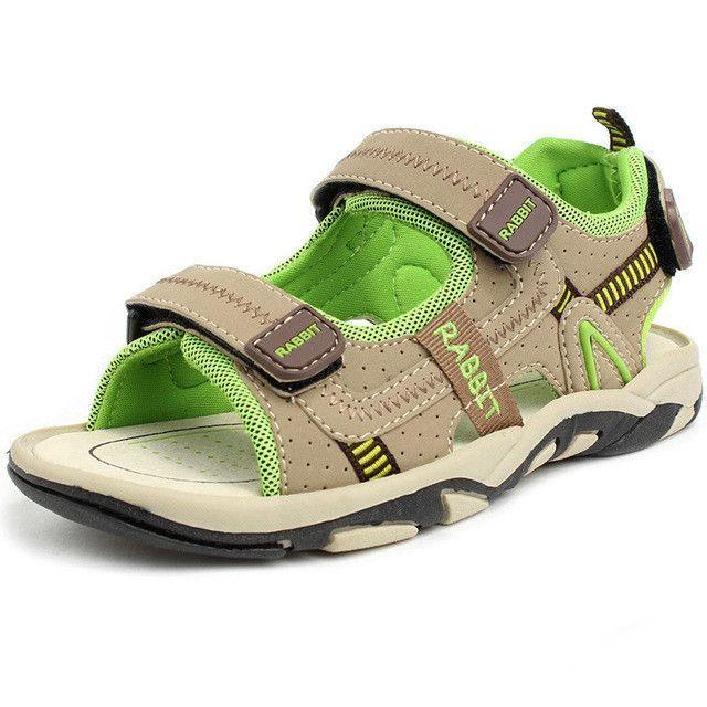 a250168f42d Children Beach Shoes Summer New Kids Sandals Leather Wear Baby Casual Flat  Shoes Top Boy Shoe Tide Hook   Loop Men 3 Colors Size