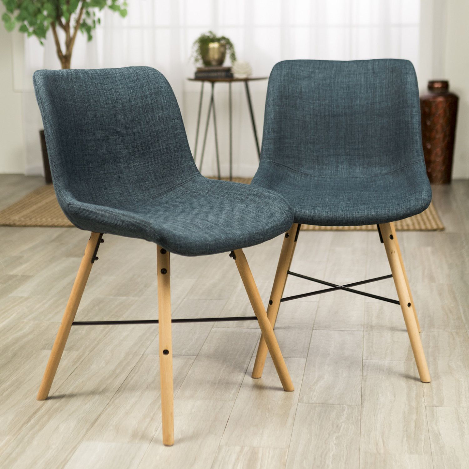 Walker Edison Ch18sno2bu Mid Century Modern Dining Chair Blue Set Of 2 Modern Dining Chairs Dining Chairs Upholstered Chairs