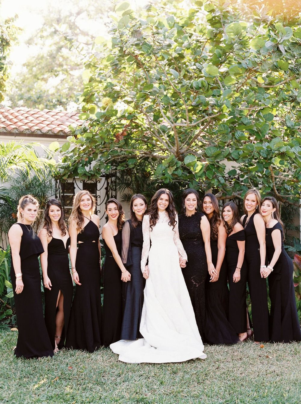 How To Have A Chic Black Tie Miami Beach Wedding Black Bridal Parties Dark Bridesmaid Dress Wedding Bridesmaids