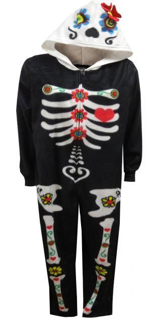 acb01e0605f Day Of The Dead Hooded Skeleton Bones Onesie Pajama