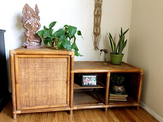 the best attitude 38b17 16eb9 Rare Mid Century Bohemian Rattan Wicker Console / TV Stand ...