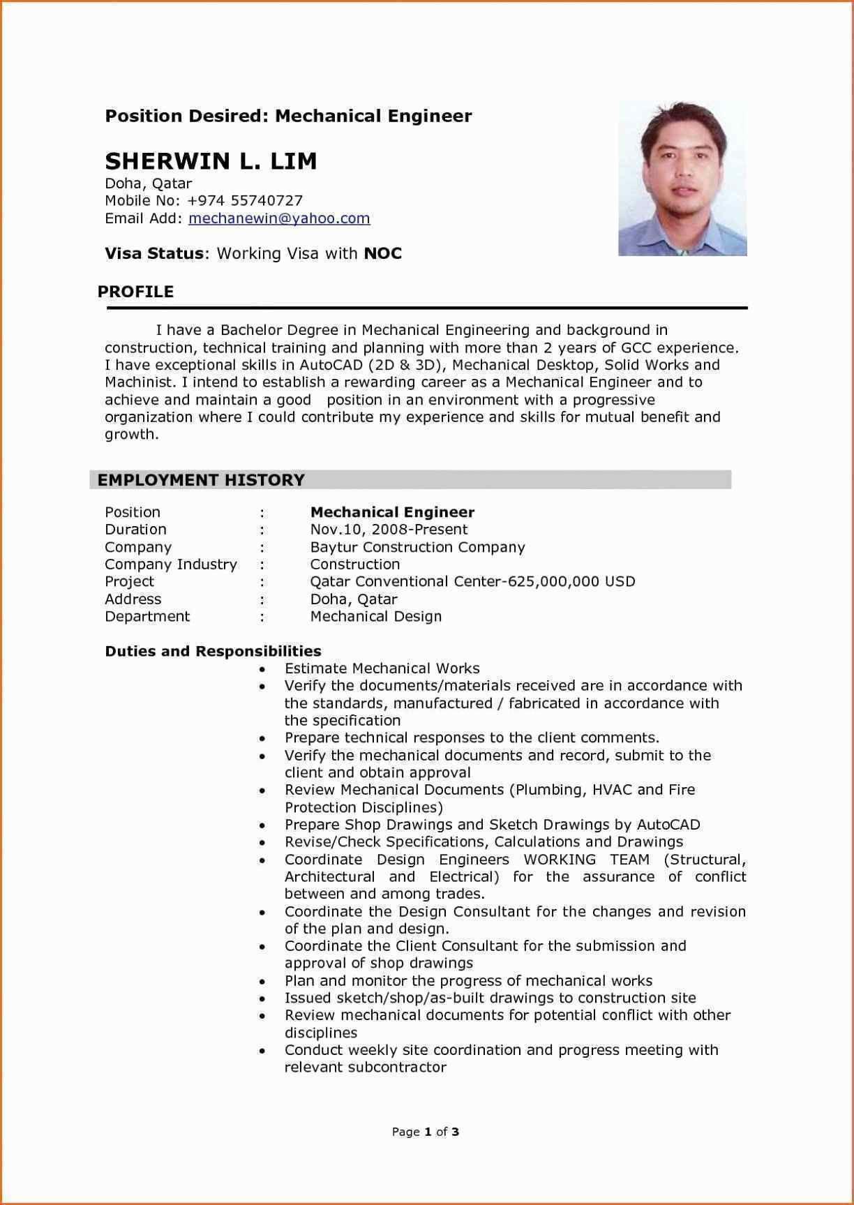 Resume Format Qatar Mechanical Engineer Resume Engineering Resume Resume Examples