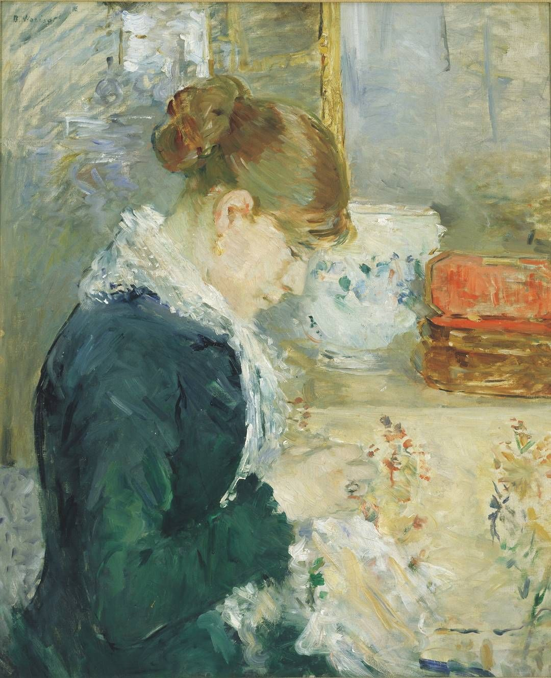 """Albright-Knox Art Gallery on Instagram: """"Here is a full view of today's  #WhatIsItWednesday puzzle: Berthe Morisot's """"Woman Sewing,"""" … 