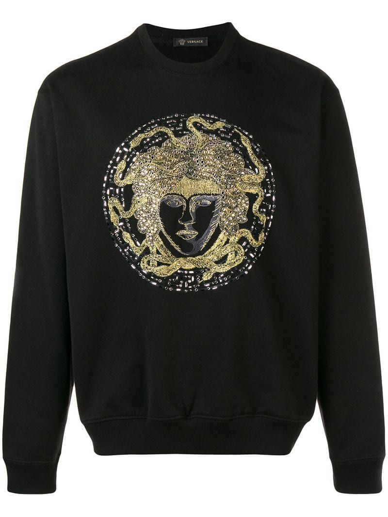 fa80ea18d23 VERSACE CRYSTAL EMBROIDERED MEDUSA SWEATER.  versace  cloth ...
