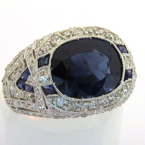 Assez Joaillerie ancienne Paris - Bague ancienne saphir diamants platine  CZ04
