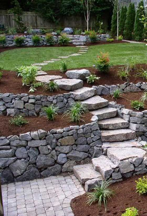 21 Amazing Ideas To Plan A Slope Yard That You Should Not Miss Backyard Landscaping Backyard Garden Stairs