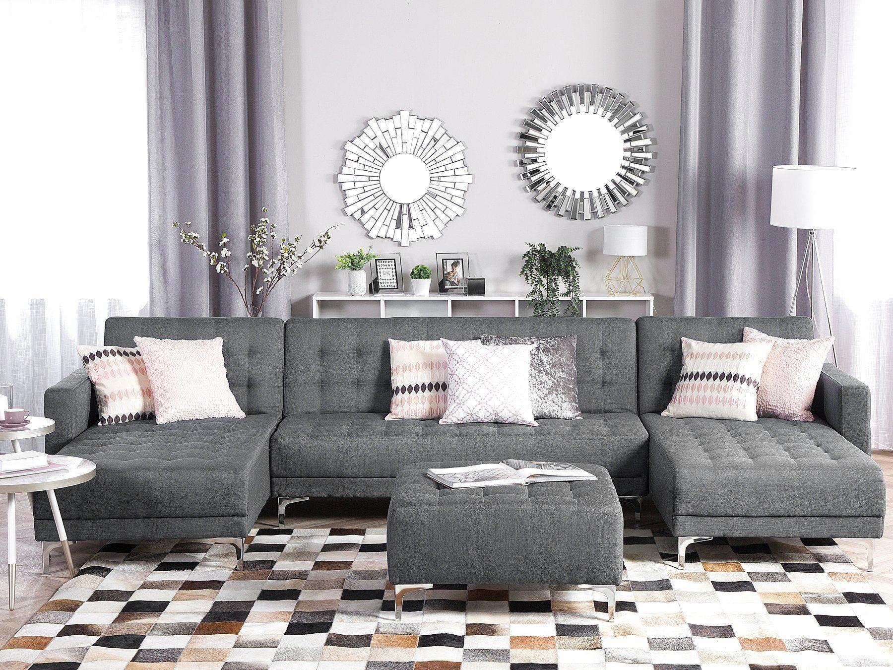 5 Seater U Shaped Modular Fabric Sofa With Ottoman Grey Aberdeen Beliani Pt Modular Corner Sofa Corner Sofa Modern Sectional Living Room