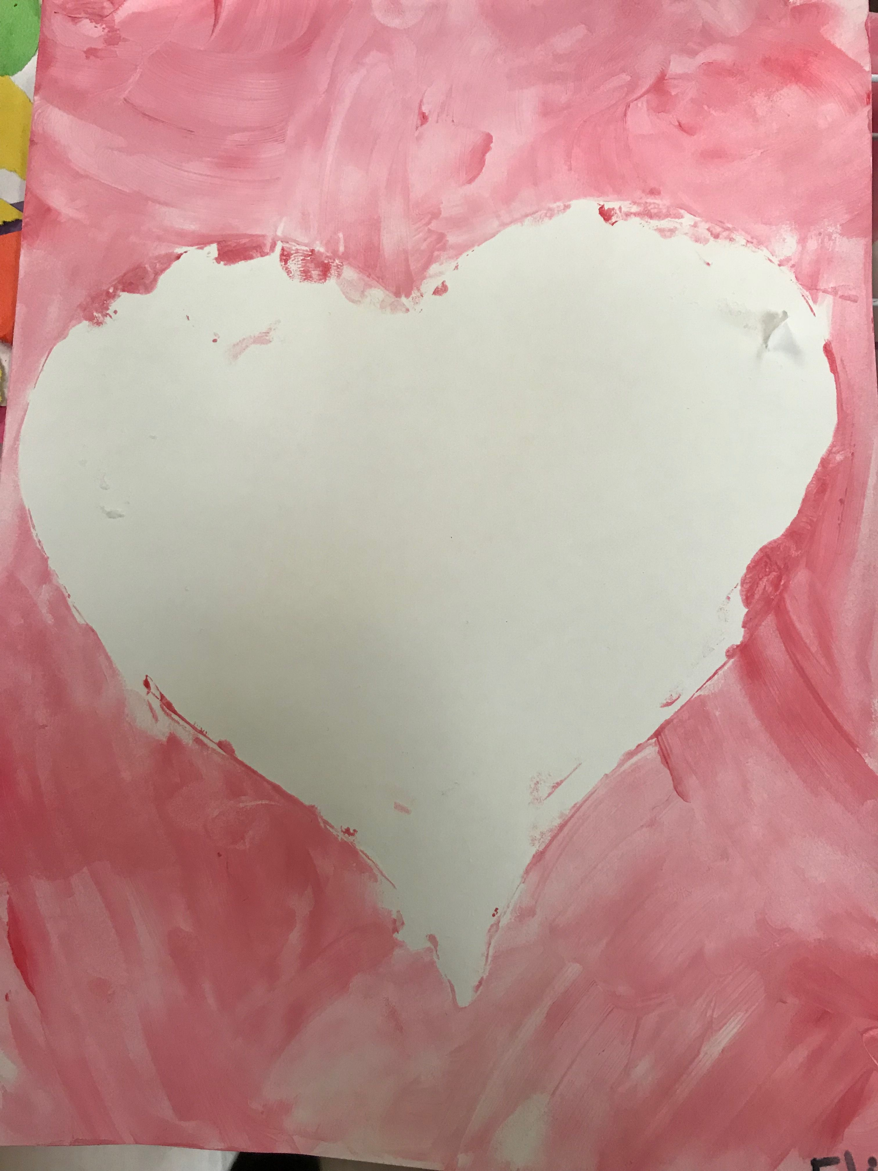 Kids Finger Paint Red And White To Make Pink Around Heart Dye Cut Then Remove
