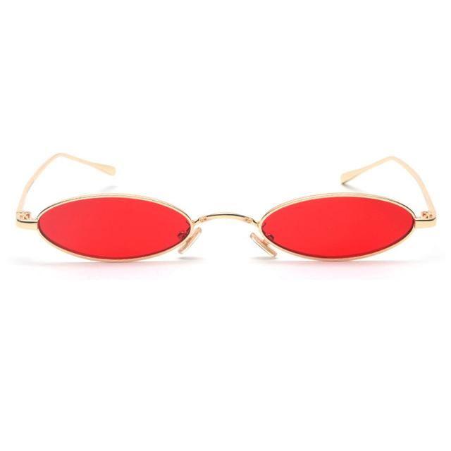 Small Oval Sunglasses For Men Women Gold Metal Frame 1282T – Gold  Frame Red