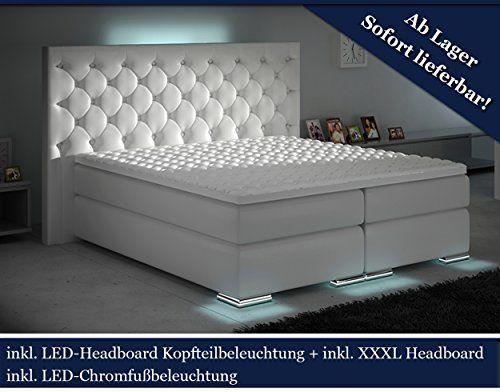 Exceptional XXXL Boxspringbett Designer Boxspring Bett LED Chesterfield (Weiß, 180x200)