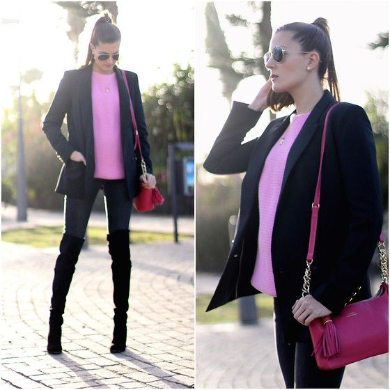 Look of the day: @choies over the knee boots, @mango blazer @zara jersey imperio clandestino bag #marilynscloset #fashionblogger #streetstyle #lookoftheday #lookdeldia #imperioclandestino #pink #pregnant #pregnancy #style #outfit #winter @lookbookdotnu  http://marilynsclosetblog.blogspot.com.es/2015/03/over-knee-boots.html