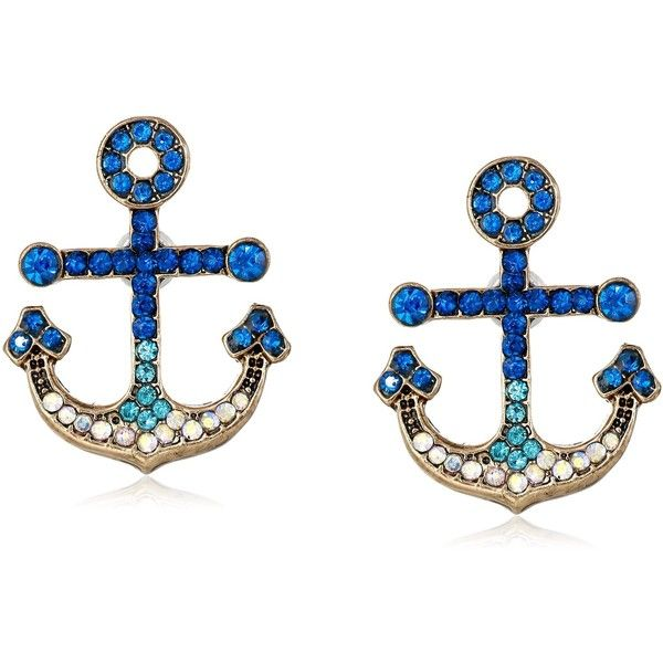 "Betsey Johnson ""Ship Shape"" Pave Anchor Stud Earrings ($33) ❤ liked on Polyvore featuring jewelry, earrings, accessories, anchor, nautical, nautical jewelry, nautical anchor jewelry, stud earring set, earrings jewelry и betsey johnson"