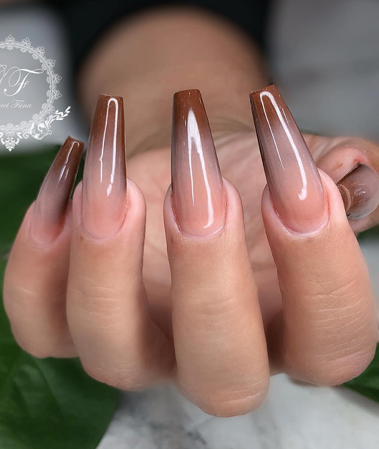 50 Attractive Acrylic Nail Art Designs Trends Ideas 2019 Coffin Nails Stiletto Nails Page 17 Of 17 Brown Acrylic Nails Acrylic Nails Coffin Ombre Ombre Acrylic Nails