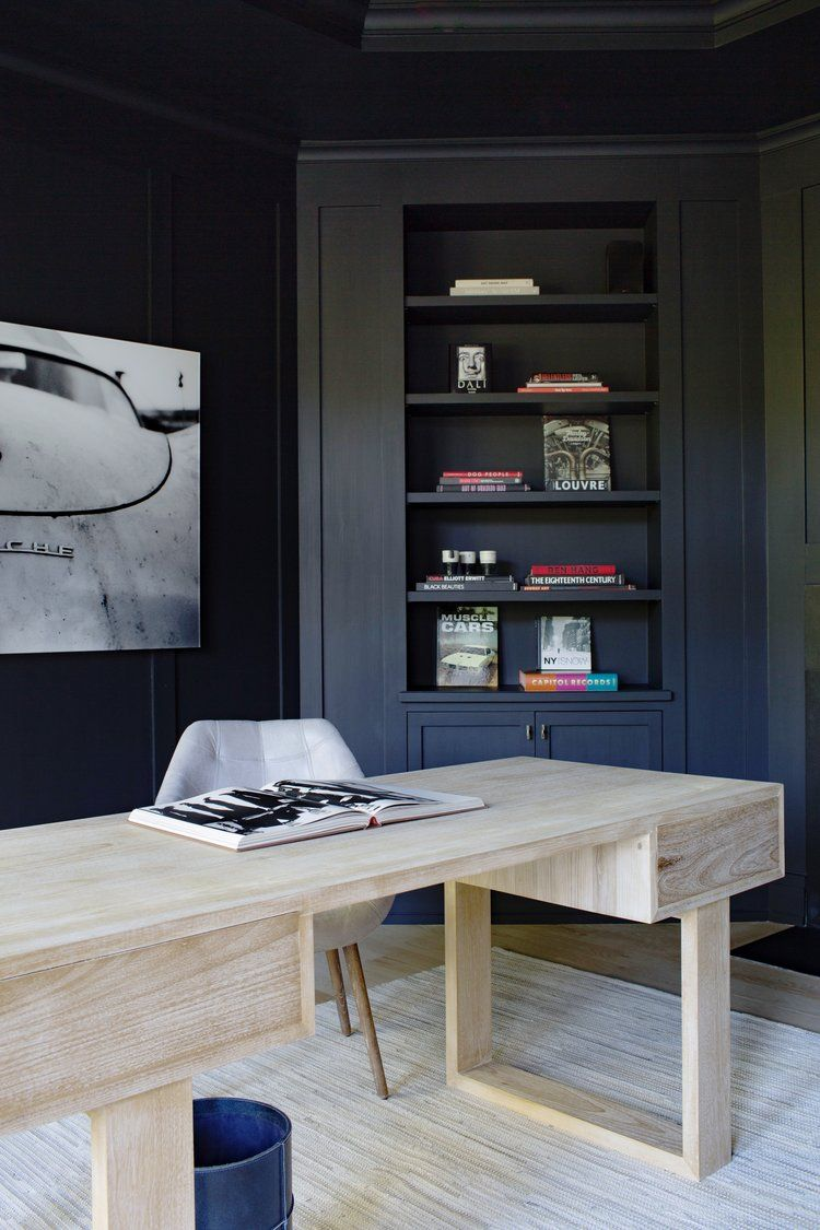Dark Walls In The Home Office With A Light Wood Desk Bleached Wood Black Walls Masculine Hom Masculine Home Offices Built In Furniture Home Office Design