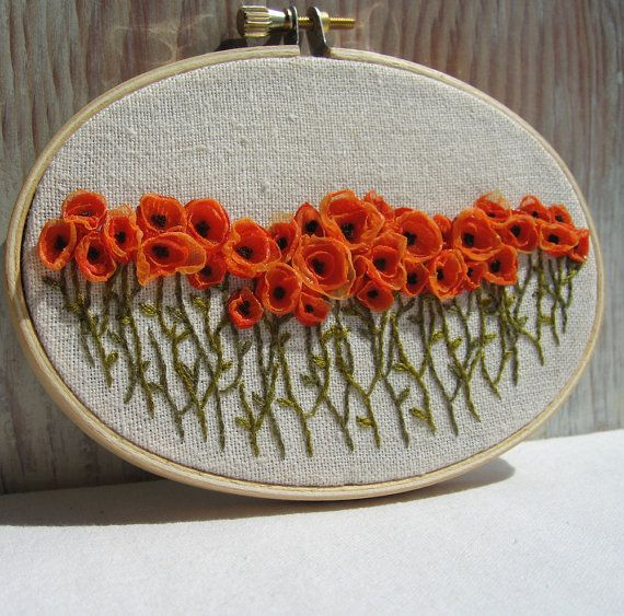 Hand Embroidered Orange Poppy Field Wall Art van Sidereal op Etsy