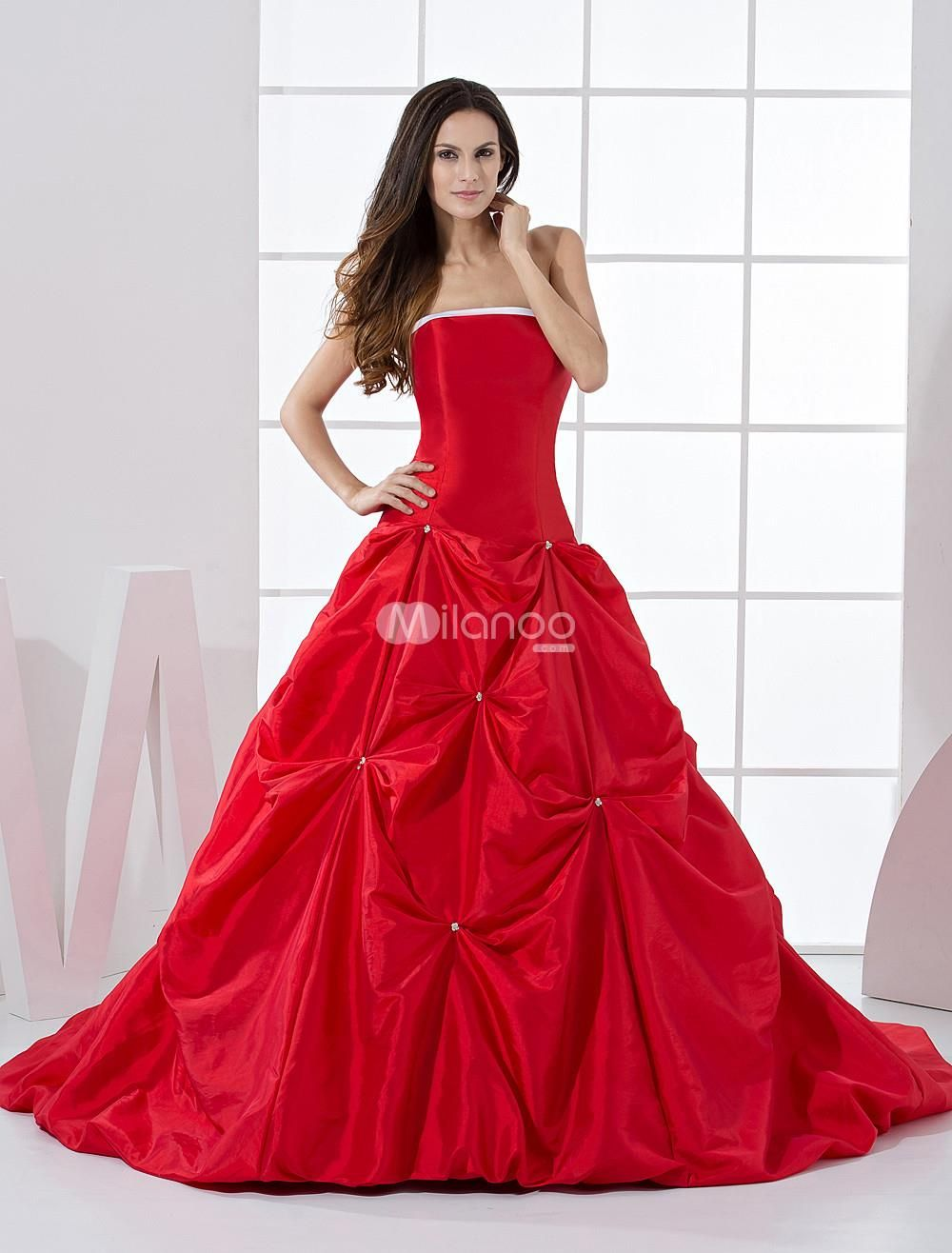 Red formal ball gown strapless beading taffeta ball gown red aline